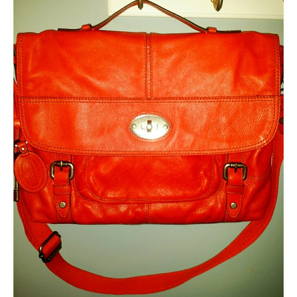 eac1c5ce4 Fossil Bags | Red Leather Computer Bag Or Lg Tote | Poshmark
